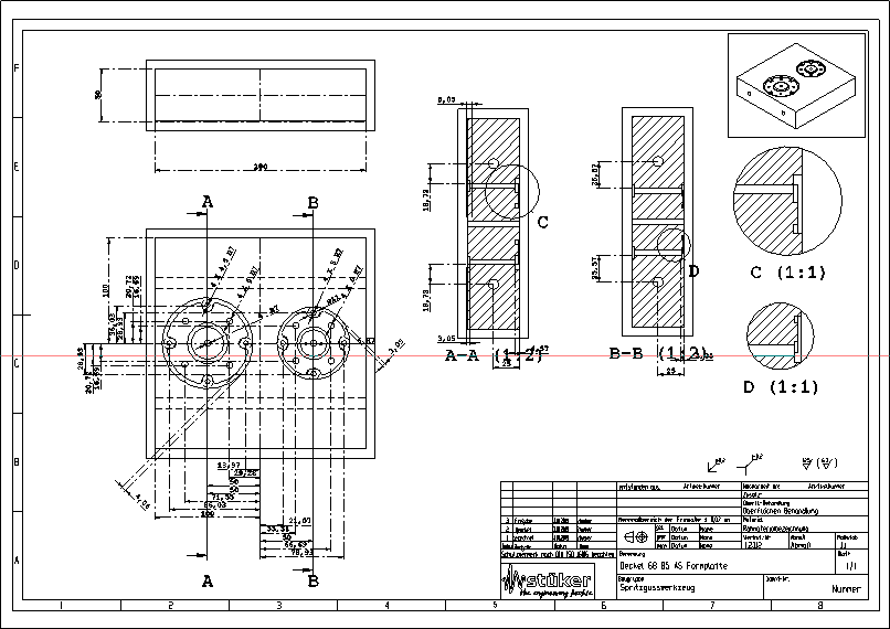 Die Zeichnungsableitung der unteren Formhälfte mit Schnittansichten und Detaillierung