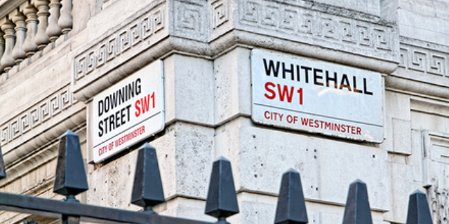 The Whitehall and Downing Street road signs above railings