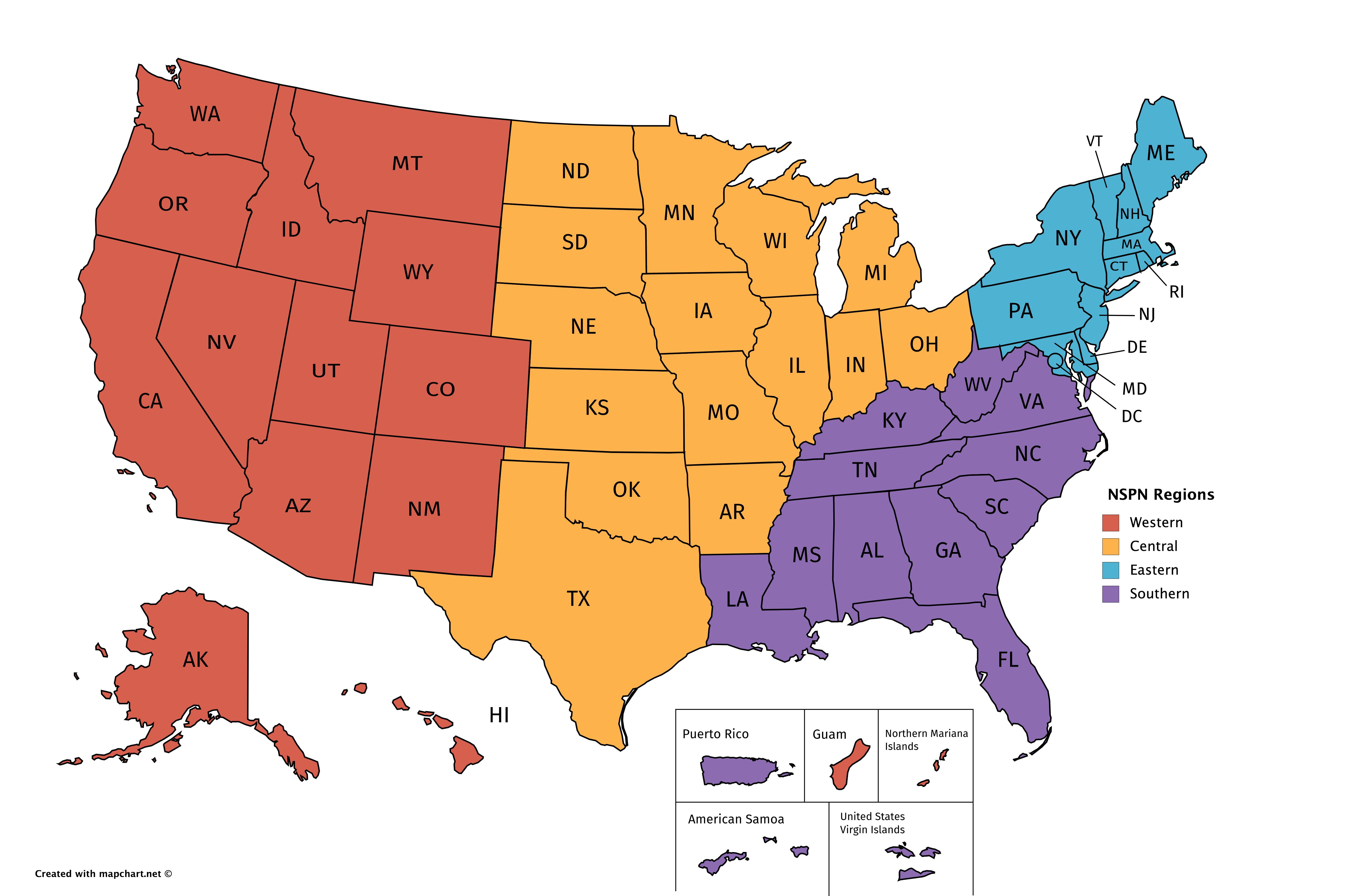 NSPN Regions Map
