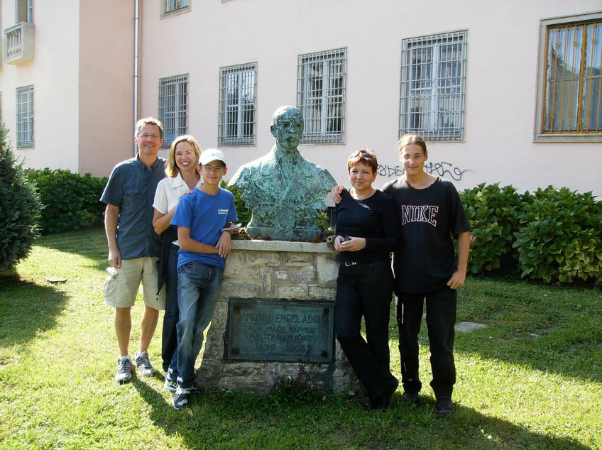 A bust of Margaret's great great grandfather, with family and friends