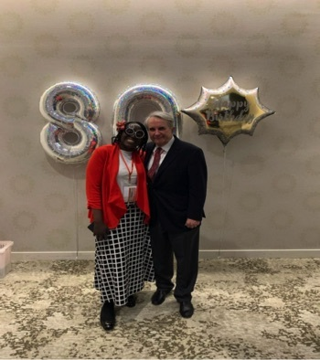 Kehinde with her indefatigable PI, Professor Jindřich Henry Kopeček, on the occasion of his 80th birthday