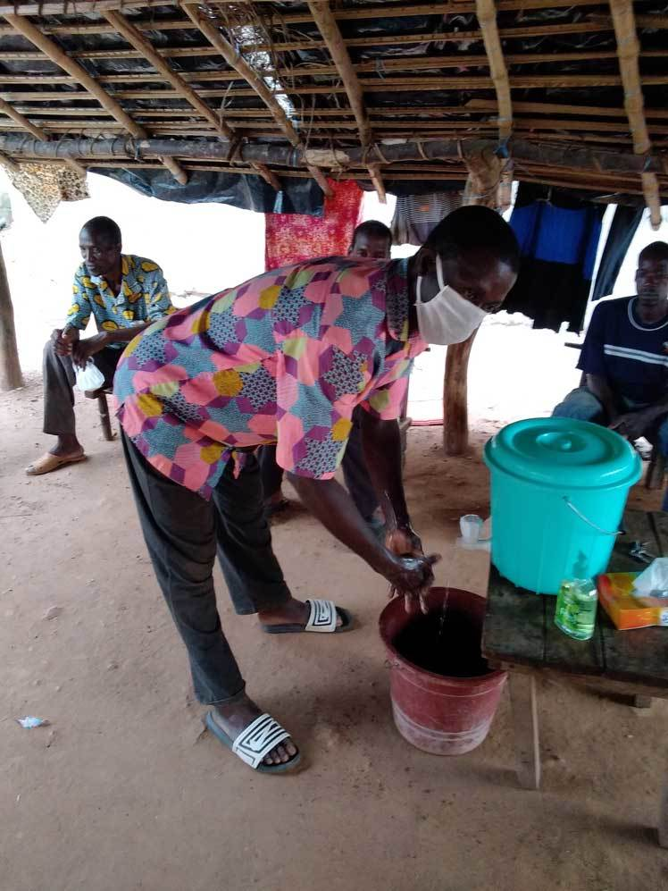 Villager in Cote d'Ivoire washing their hands
