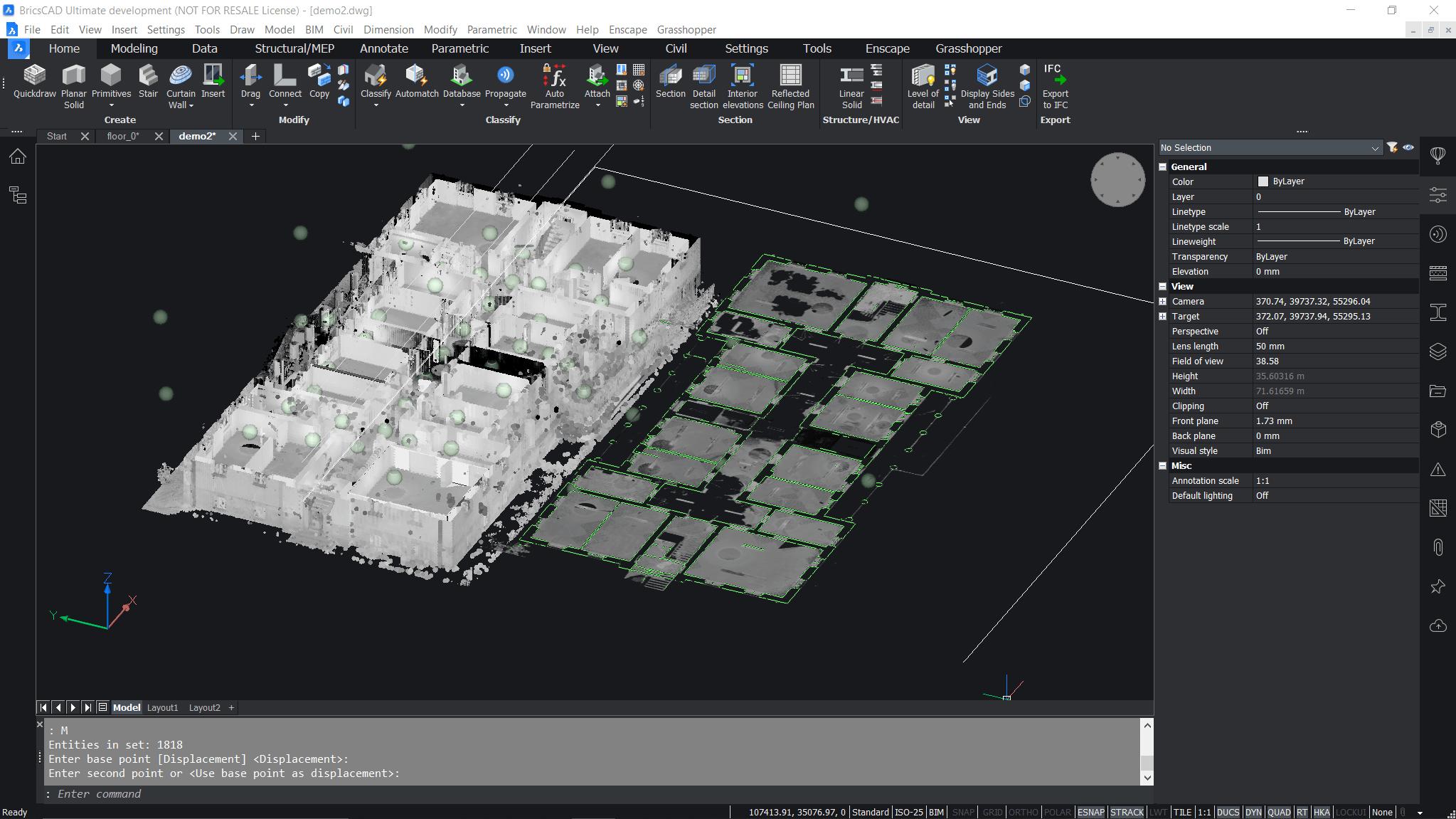 Beispiel einer DWG-Datei mit 2D- und 3D-Geometrie, Punktwolkendaten und Beschriftungen, geöffnet in BricsCAD®.