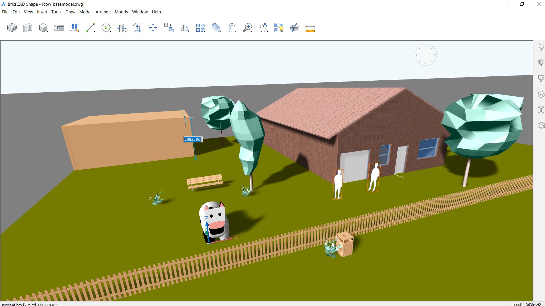 Beispiel einer DWG-Zeichnung, die in BricsCAD® Shape, dem kostenlosen Softwareprogramm von BricsCAD®, geöffnet wurde.