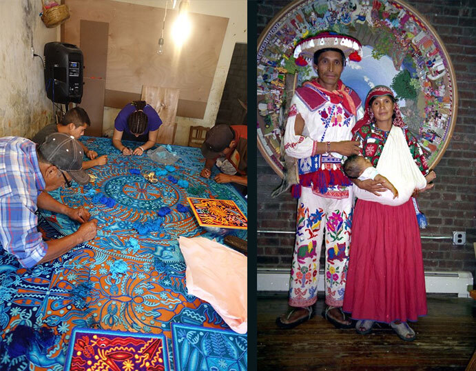 Two photos of the Huichol yarn painters