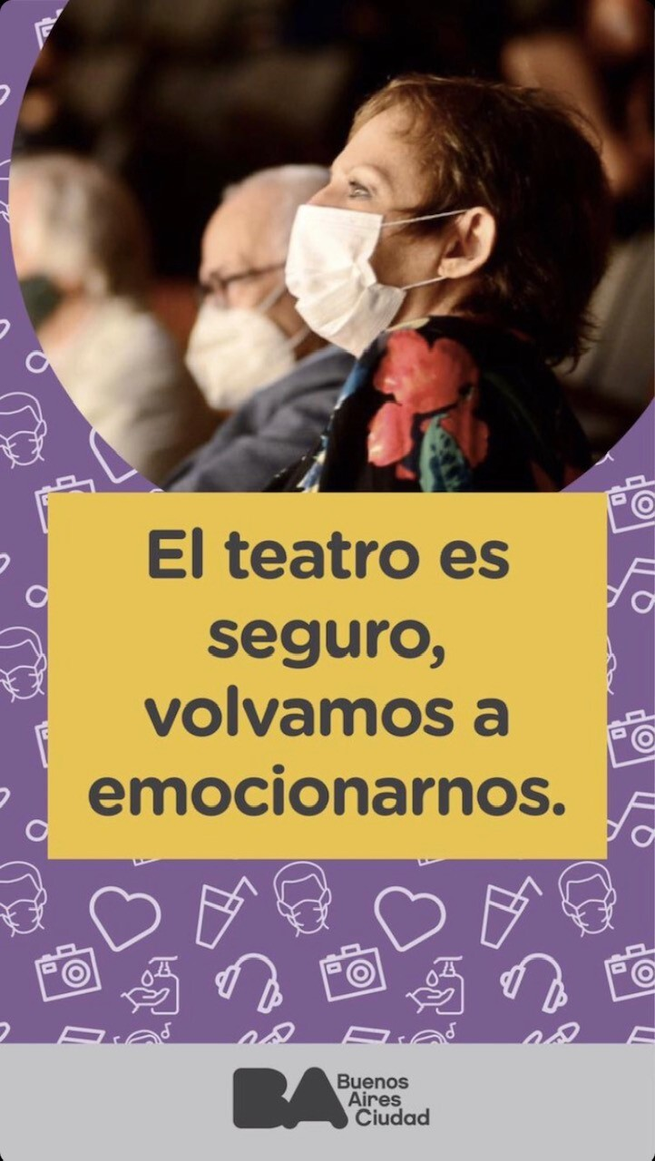 Promotional materials for the campaign to reopen Argentinian theatre