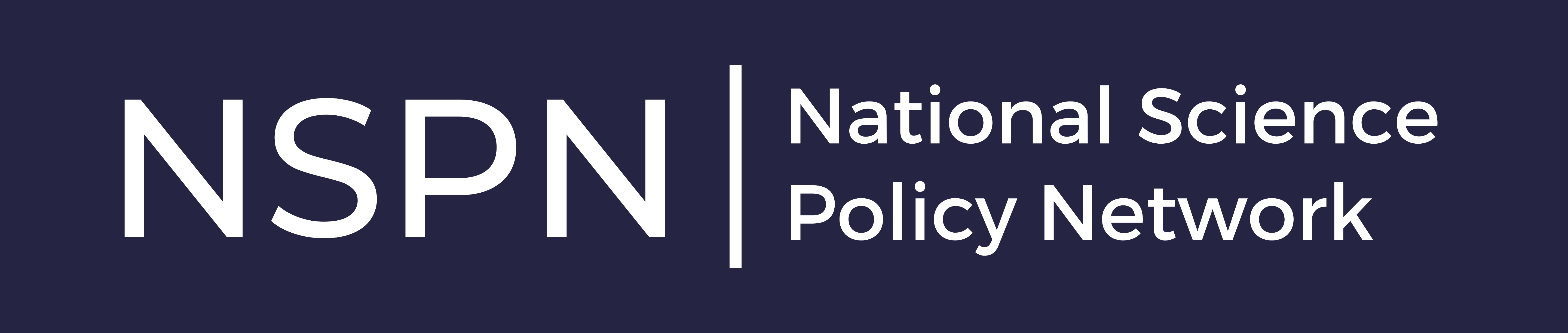 """The logo of the National Science Policy Network (NSPN). On a dark purple background, white text reads: """"National Science Policy Network: NSPN."""""""