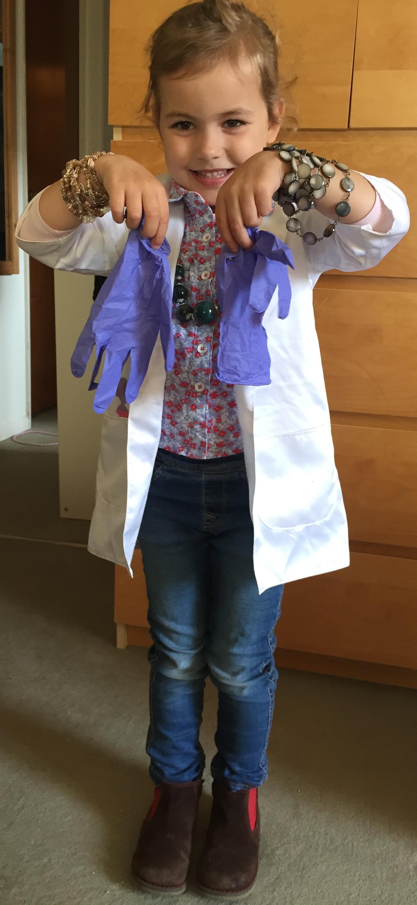 Clara Simoes dressed as a scientist for 'Superhero Day'