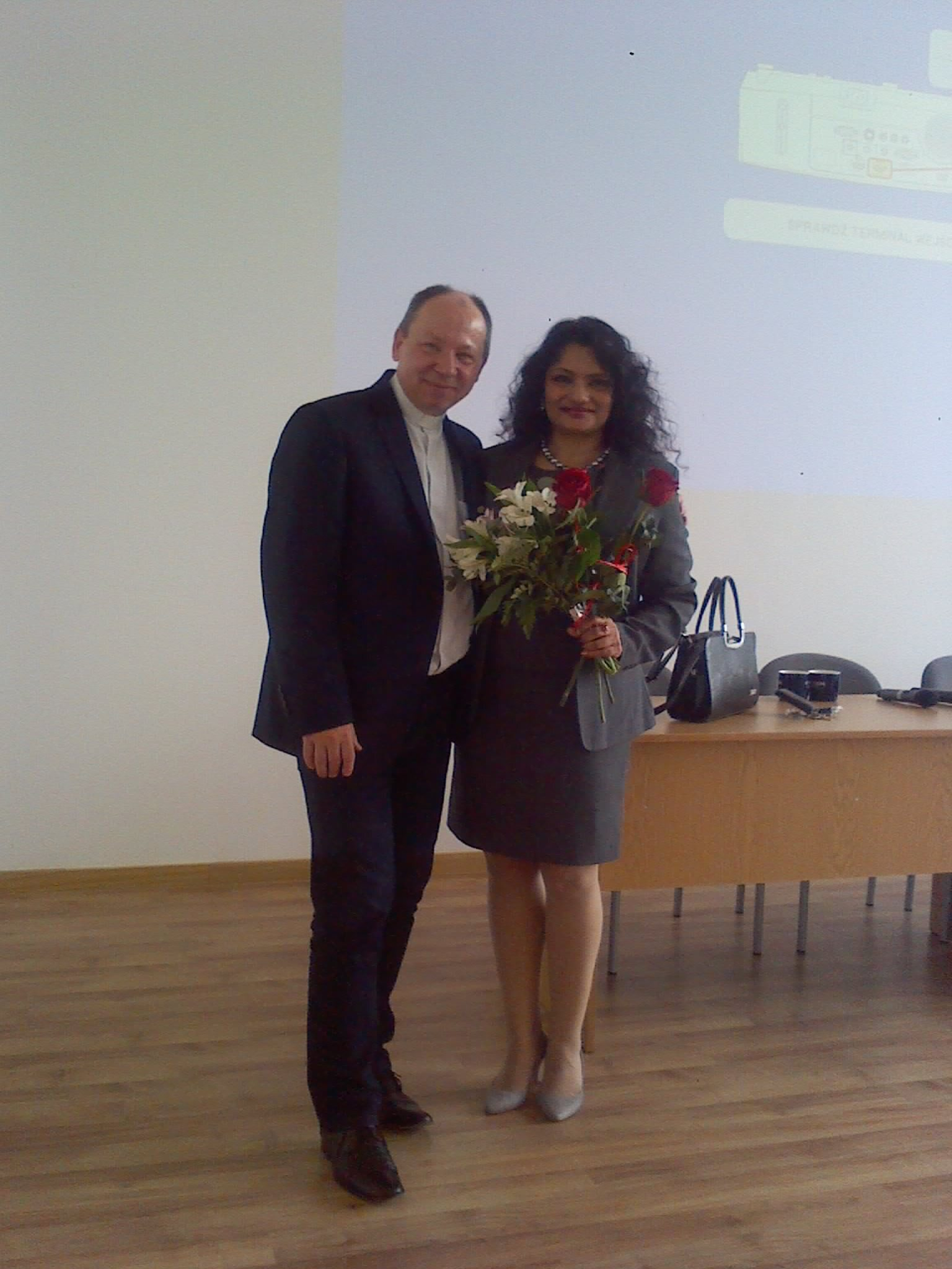Rumu Sarkar with Father Bronski, her Fulbright sponsor at the law school in Poland