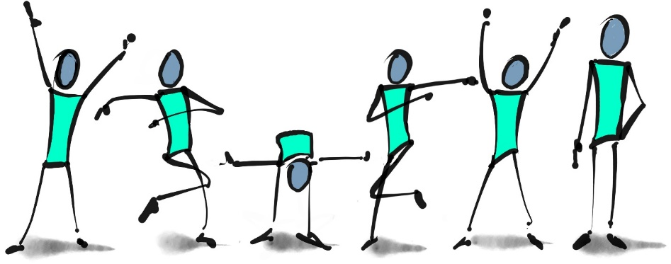 A hand drawn image of six people dancing