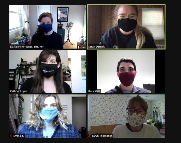 A screenshot of a Zoom meeting with several people on their webcams.