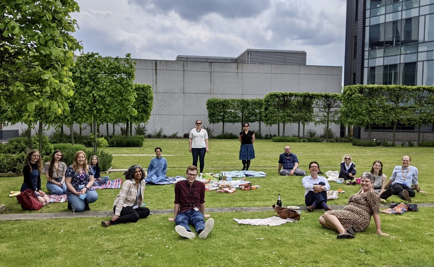 Samantha Mason with colleagues at a socially-distanced picnic, Cambridge