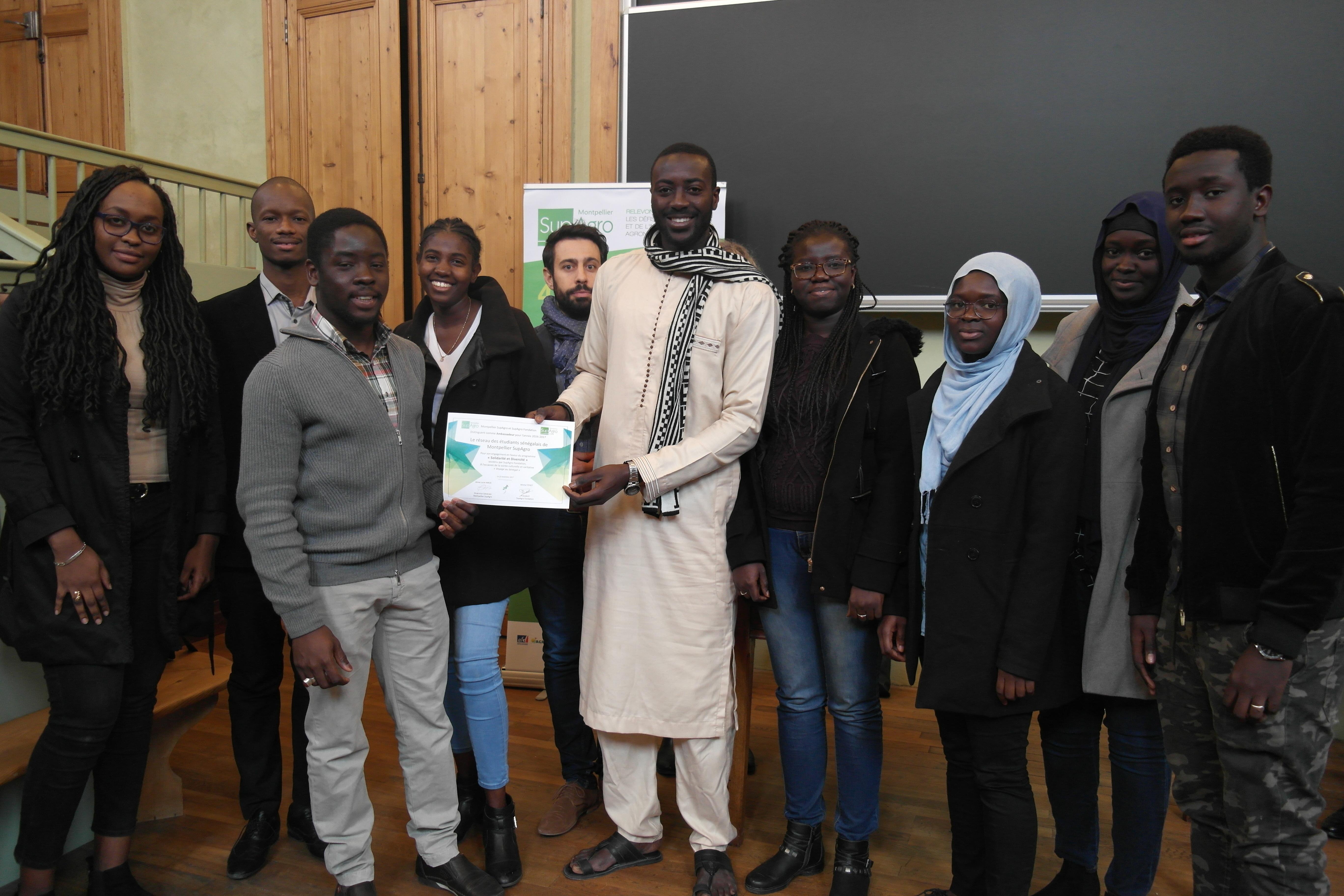 """Le réseau des étudiants sénégalais de Montpellier SupAgro distingué comme """"ambassadeur"""" du programme """"Solidarité et diversité suite à l'organisation de la soirée culturelle et caritative """"Voyage au Sénégal"""