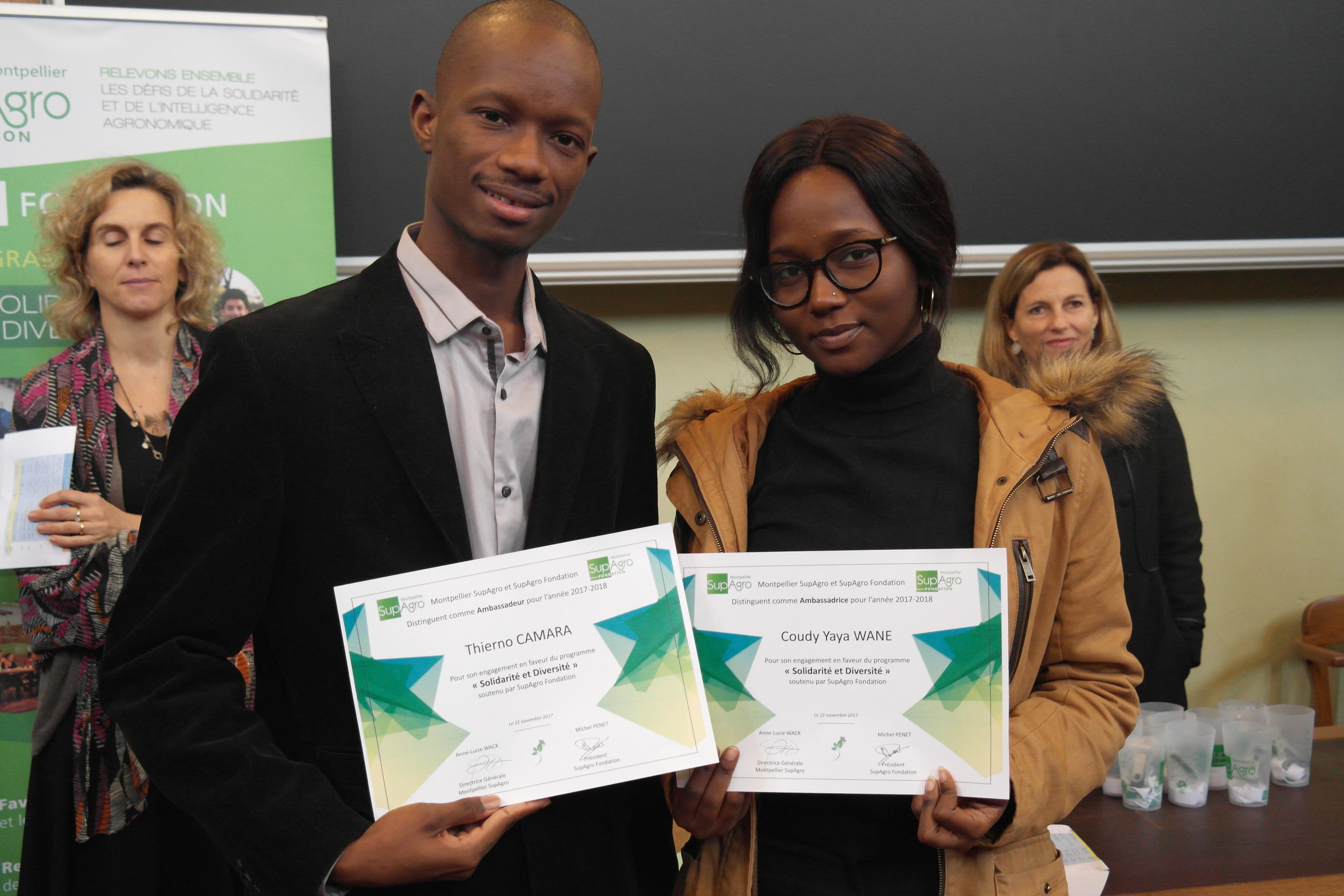 """Coudy Yaya Wane et Thierno Camara, distingués comme """"ambassadeurs"""" du programme """"Solidarité et Diversité"""" pour leur participation à la campagne de communication"""
