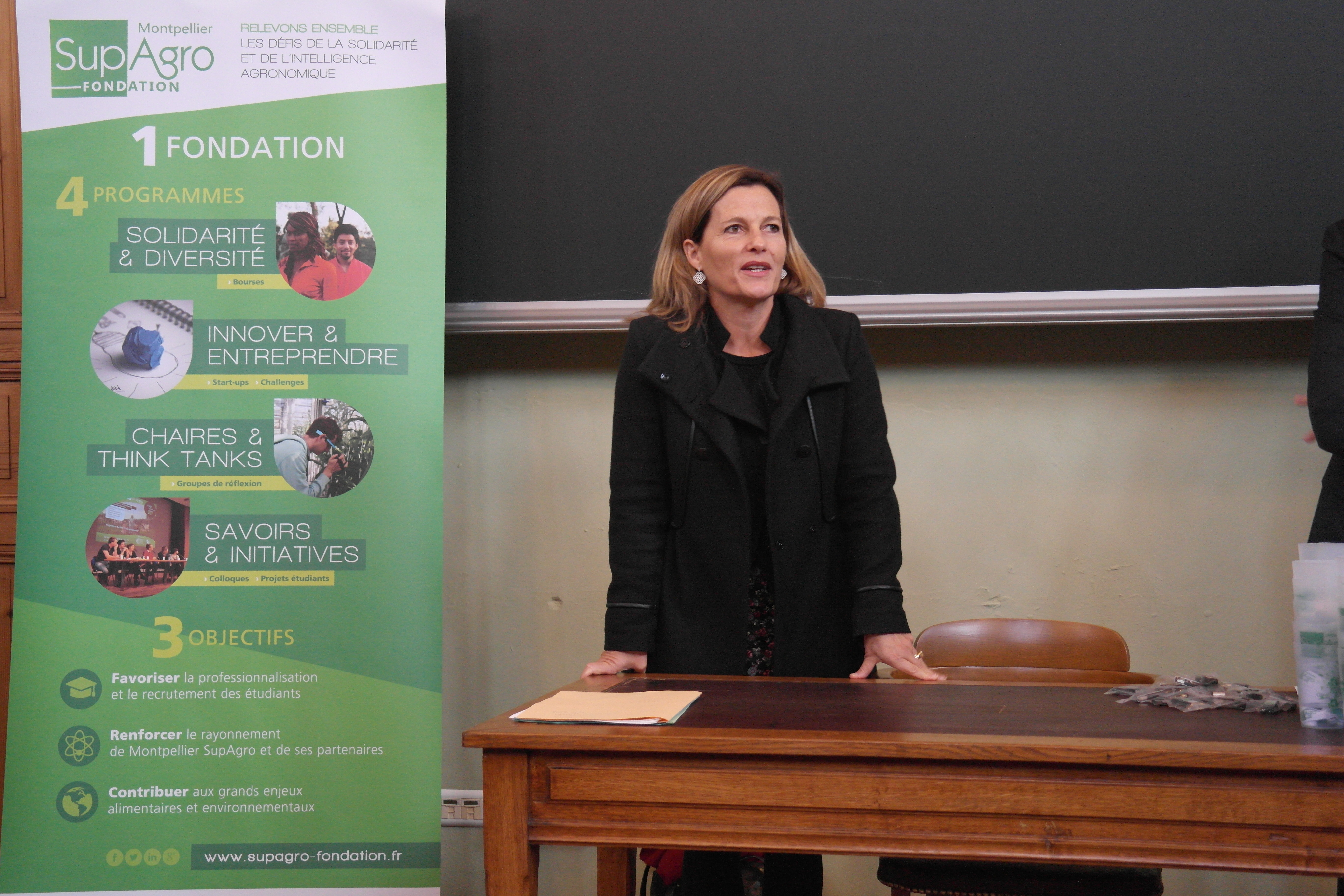 Anne-Lucie WACK, Directrice générale de Montpellier SupAgro rappelant l'engagement de l'établissement dans son ouverture sociale et internationale